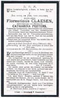 Dp: Onderwijzer. Claesen Florentinus. Wed. Peeters Catharina. ° Oud-Turnhout 1861 † Gheel 1924 - Godsdienst & Esoterisme