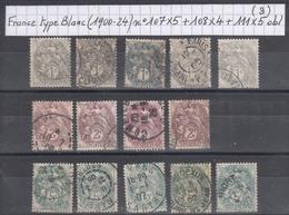 France Type Blanc (1900-24) Y/T N° 107X5 + 108X4 + 111X5 Oblitérés (lot 3) - 1900-29 Blanc