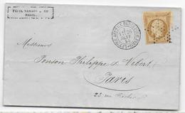 """1855 - LETTRE Avec CACHET """"LETTRE AFFie DE PARIS POUR PARIS"""" + ETOILE PLEINE - IND 9 - Marcophilie (Lettres)"""