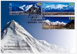 "Kyrgyzstan 2020 FDC  The ""Seven-Thousanders"" Mountains  Of Kyrgyzstan Mountain Montagnes Montagne - Geologia"