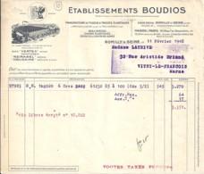 10 . AUBE . FACTURE / LETTRE . ROMILLY SUR SEINE . TISSUS ELASTIQUES ETS BOUDIOS . 1948 - 1900 – 1949