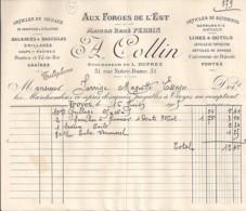 10 . AUBE . FACTURE / LETTRE . TROYES . AUX FORGES DE L'EST / A.COLLIN . 1905 - 1900 – 1949