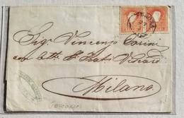Busta Di Lettera Verona-Milano - 27/05/1859 Affrancata Con Coppia Da 5 Soldi 2° Tipo - Lombardo-Veneto