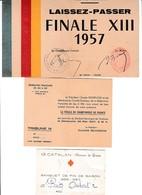 RUGBY à XIII - 3 Cartons D'invitation à La Finale à Toulouse En 1957 & Au Banquet Du 13 CATALAN 1956/57 - Historische Dokumente