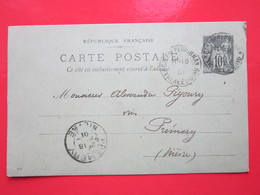 Cp écrite E.DRANCOURT à PERPIGNAN (66) Le 16/04/1901 Oblitérée à GARE De PERPIGNAN & PREMERY 58) Timbre Entier Type SAGE - Ganzsachen