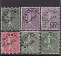 "# Z.11170 France, 1922 - 47 Full Set Type Semeuse Lignee Ovpr. ""AFFRANCH Ts POSTES"", MNH, Yvert  45 - 49: Preobliteres - Préoblitérés"