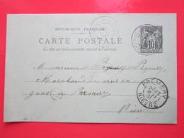 Cp écrite à St-MALO (58) Le 21/05/1901 Oblitérée (C) à CHATEAUNEUF-VAL-DE BARGIS & PREMERY (58) Timbre Entier Type SAGE - Ganzsachen