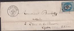 LETTRE DE SEINE ET OISE AVEC GC DE L'ISLE ADAM LAC 1869 SUP - 1849-1876: Classic Period