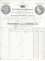 FACTURE De 1860..Serrurerie , Quincaillerie, BRICARD, Rue Du Petit Lion St Sauveur à PARIS (75)..TIMBRE..2 Scans - 1800 – 1899