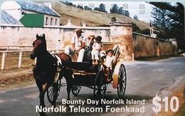"""ILE NORFOLK  -  Phonecard  -  """" Tamura """" -  Bounty Day Norfolk Island  -  $10 - Norfolk Island"""