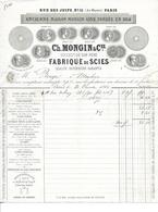 FACTURE De 1861..Fabrique De Scies, Ch. MONGIN, Rue Des Juifs à PARIS (75)..TIMBRE..2 Scans - 1800 – 1899