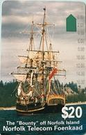 """ILE NORFOLK  -  Phonecard  -  """" Tamura """" -  The """" Bounty """"  -  $20 - Norfolk Island"""