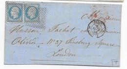 1858 - DEVANT LETTRE Avec RARE ROULETTE De POINTS De PARIS => LONDON (ANGLETERRE) - Storia Postale
