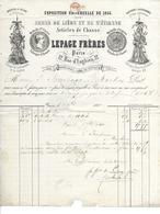 FACTURE De 1864..Armes De Liège Et St Etienne, LEPAGE Frères, Rue D'Enghein à PARIS (75)..TIMBRE..2 Scans - 1800 – 1899