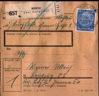 ! 1943  Paketkarte Deutsches Reich,  Mühlau über Burgstädt Nach Leipzig,  Zusammendrucke - Covers & Documents
