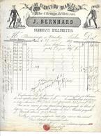 FACTURE De 1869..Fabricant D'Allumettes, Au Secret Du Diable, J. BERNHARD, Rue D'Allemagne à PARIS (75)..TIMBRE..2 Scans - 1800 – 1899