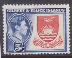 GILBERT AND ELLICE ISLANDS 1939 5s SG 54 MOUNTED MINT TOP VALUE OF THE SET Cat £13 - Gilbert & Ellice Islands (...-1979)