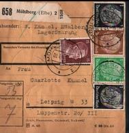 ! 1943  Paketkarte Deutsches Reich,  Mühlberg An Der Elbe, Kriegsgefangenen Lager, Nach Leipzig,  Zusammendrucke - Germania