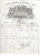FACTURE De 1864..Fabrique Ornements ,Porcelaine, Cristal, BOURREIFF Rue Petites Ecuries à PARIS (75)..TIMBRE...2 Scans - 1800 – 1899