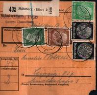 ! 1943  Paketkarte Deutsches Reich,  Mühlberg An Der Elbe, Stalag IV Kriegsgefangenenlager Nach Leipzig,  Zusammendrucke - Brieven En Documenten