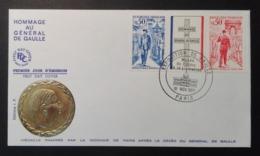 France 1971 - FDC - 1er Jour -  Premier Anniversaire De La Mort Du Général Charles De Gaulle - FDC