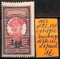 [836975]TB//**/Mnh-France (Ex Colonie) Martinique 1922 - N° 87-VAR, 0.02c/15c Surcharge Déplacée - Martinique (1886-1947)