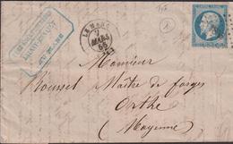 LETTRE DE LA SARTHE AVEC PC DE LA MANS LAC 1855 TB - Storia Postale