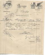 Facture 1909 / MONACO MONTE-CARLO / J. CRESTA / Forge Et Charronnage - 1900 – 1949