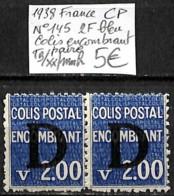 [847717]TB//**/Mnh-France 1938 - N° 145, CP, 2f Bleu, Colis Encombrant, Paire - Colis Postaux