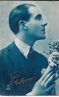 Carte Photo Fantaisie ,sainte Catherine, Homme Et Bouquet De Roses - Sainte-Catherine