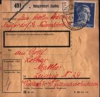 ! 1943 Paketkarte Deutsches Reich, Neugersdorf In Sachsen Nach Leipzig,  Zusammendrucke - Allemagne