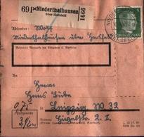 ! 1943 Paketkarte Deutsches Reich, Niederthalhausen über Hersfeld Nach Leipzig,  Zusammendrucke - Se-Tenant