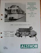 Fiche Technique RENAULT ALSTHOM Autorail Sénégal Niger ABH4 1940 - Chemin De Fer & Tramway