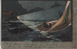 Diemer Zeno Litho Gardasee Das Leuchtschiff Lago Di Garda Nr. 1440 E 2965 Kuenstlerkarte Rare Riva Arco Torbole - Diemer, Zeno