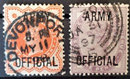 GREAT BRITAIN 1896 - Canceled - Sc# O54, O55- Army Official 0.5d 1d - Servizio