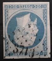 Empire No 14 A F Bleu Laiteux Obl Pc 3713 Bureau De AUMALE, Alger, Algérie,  Indice 15, Belle Frappe TB - 1853-1860 Napoléon III