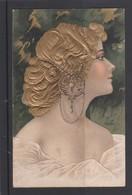 ART-NOUVEAU-CARTE GAUFREE-STYLE MUCHA-?-TRES JOLIE FEMME-PERLES-ENVOYEE-1902-VOYEZ LES 2 SCANS-TRES BONNE ETAT-TOP ! ! ! - Vrouwen