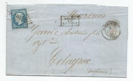- AUDE - NARBONNE - GC.2610 S/TP N°22 + Càd T.15 - 1863 - APRES LE DEPART - 1862 Napoleone III