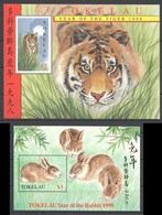A824 TOKELAU FAUNA WILD ANIMALS YEAR OF THE TIGER 1998 RABBIT 1999 2BL MNH - Raubkatzen