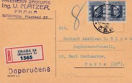 C.P. Recommandée T.P. Ob Smichou 20 VIII 26 C.P. Pour Paris IXème - Czechoslovakia
