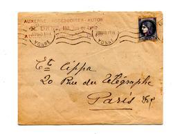 Lettre Flamme Muette Auxerre Sur Ceres Surchargé - Marcophilie (Lettres)