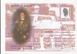 GEORGE VALENTIN BIBESCU, PILOT, COVER STATIONERY, 2001, ROMANIA - Entiers Postaux