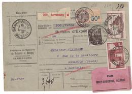 1931 - BULLETIN D'EXPÉDITION COLIS POSTAUX SARREBOURG Avec TIMBRES PERFORÉS MONT ST MICHEL ARC TRIOMPHE FISCAL FACHI - Covers & Documents