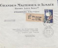 Env Reco Affr Y&T 973 Obl STRASBOURG PORT DU RHIN Du 20.4.1955 Adressée à Strasbourg - Marcofilia (sobres)