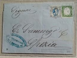 Busta Di Lettera Genova-La Spezia - 07/07/1863 Affrancatura Mista Regno Di Sardegna + Regno D'Italia - Sardegna