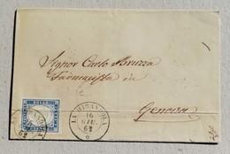 Busta Di Lettera La Mirandola-Genova - 16/06/1862 Affrancata Con 20 Cent. Indaco - Sardegna