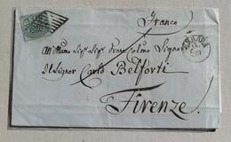 Lettera Ferrara-Firenze - 17/06/1857 Affrancata Con 1 Baj - Stato Pontificio