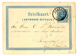 Netherlands Postal Stationery Postcard Briefkaart Antwoord Betaald Posted 1879 Zaandam B200220 - Entiers Postaux