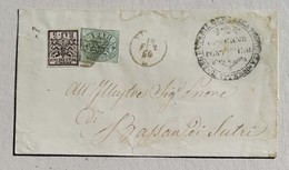 Busta Di Lettera Viterbo-Bassan Di Sutri - 19/02/1864 Affrancata Con 1 Baj + 5 Baj - Stato Pontificio