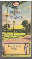 ESSO Carte Des Routes De France Offert Par ESSO SERVICE CARNOT René Verger Place Carnot à Limoges (87) Année 1950 - Strassenkarten